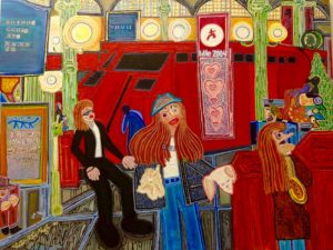 ART IMITATES LIFE IN 2004 PAINTING OF MAN IN HAT AT GARE DU NORD PARIS TRAIN STATION: Modern-Art-Gonzo-Journalism Predates Global Realization That U.S. Taxpayer Cash Is Being Laundered To Finance Terrorism in France And Other Nato Countries.