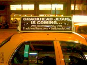 CRACKHEAD JESUS CAB BEING PHOTOGRAPHED BY TOURISTS IN MIAMI BEACH FLORIDA
