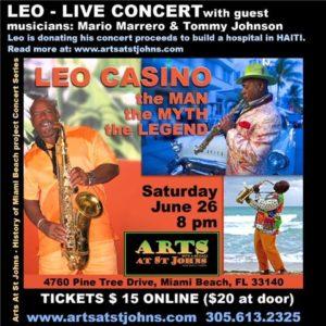Poster For Leo Casino Haiti Will Rise Concert featuring The Maverick Artist Victor-Hugo & The Modern Art Music Movement.